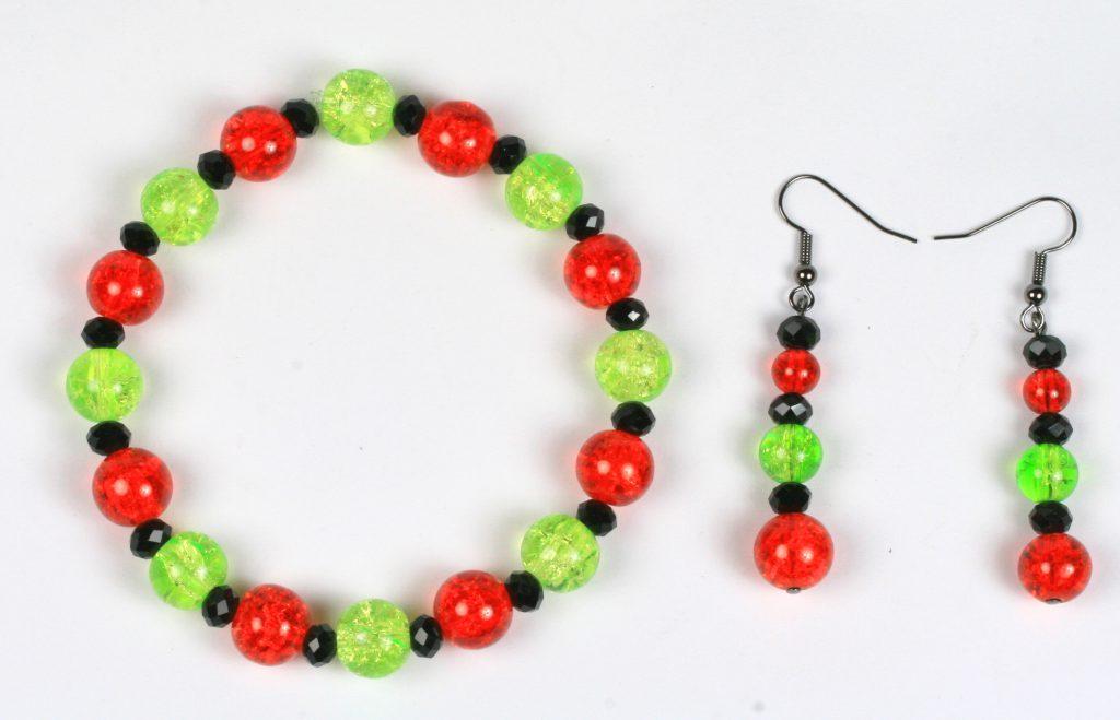 Halloween jewellery - crackle bead bracelet and earrings