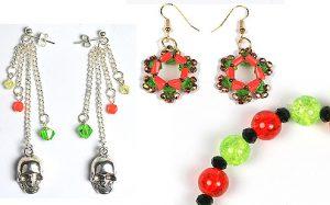 Halloween bracelets and earrings
