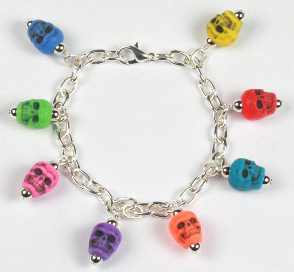 Halloween novelty bead skull bracelet