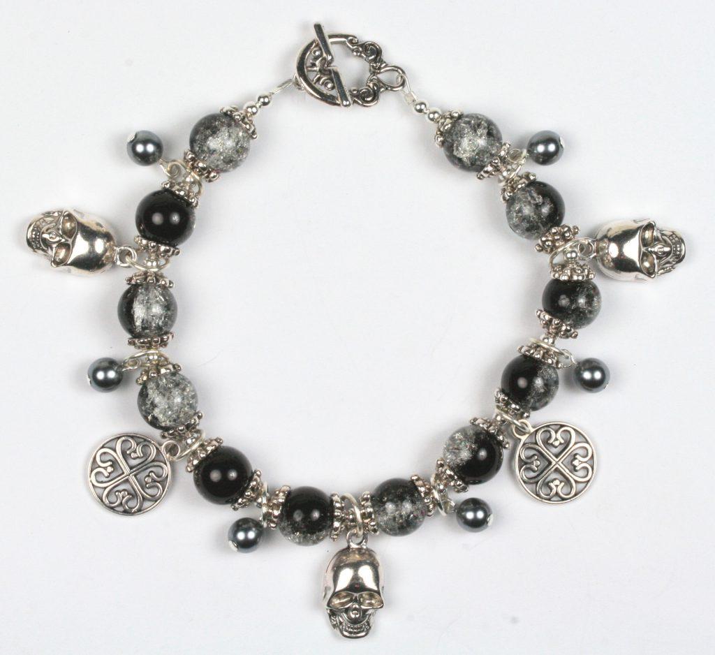 Halloween skull pendant and glass crackle bead bracelet