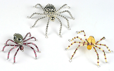 3 Halloween Beaded spiders