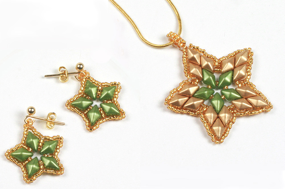 Diamonduo Star Pendant and Earrings - Creative Beadcraft