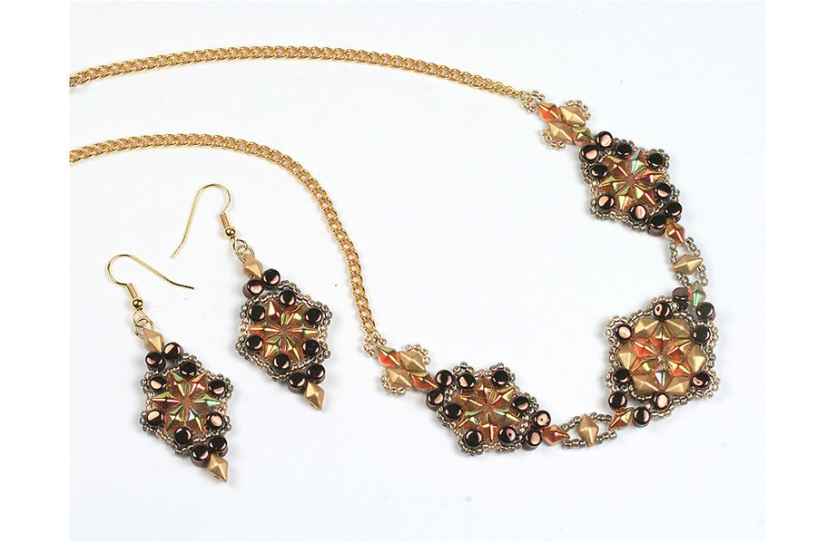 Diamonduo and Pellets Necklace and Earrings - Creative Beadcraft