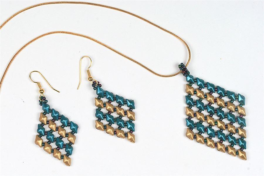 Diamonduo Diamond Pendant and Earrings Bracelet - Creative Beadcraft