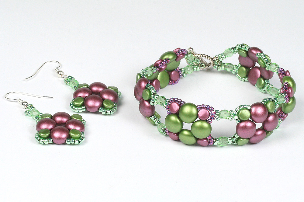 2-hole candy beads and pellets bracelet and earrings