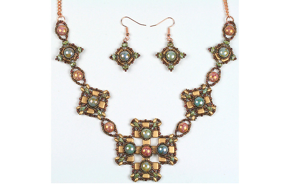 2-hole candy bead byzantine necklace and earrings