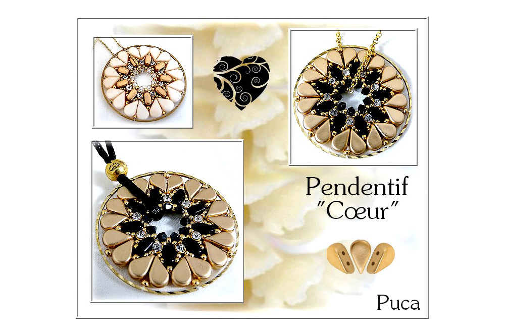 Coeur Pendant with Amos par Puca beads