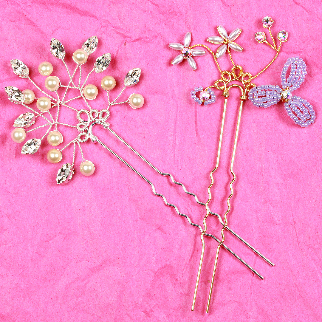 Bridal hair accessories - long hair pins with sprays of flowers