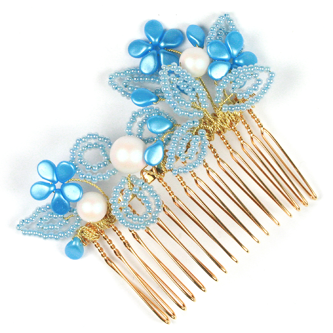Bridal hair accessories - pip flower and pearl hair combs