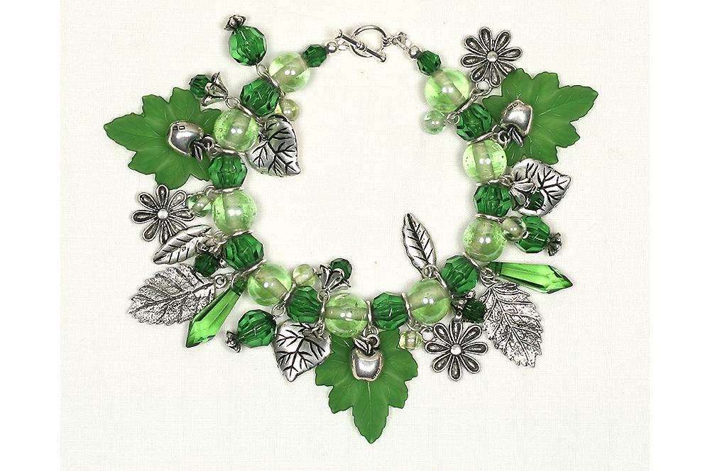 Leafy strungcharm bracelets