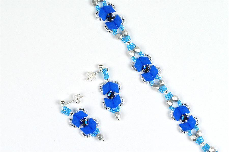 Diamonduo and rose montees bracelet and earrings