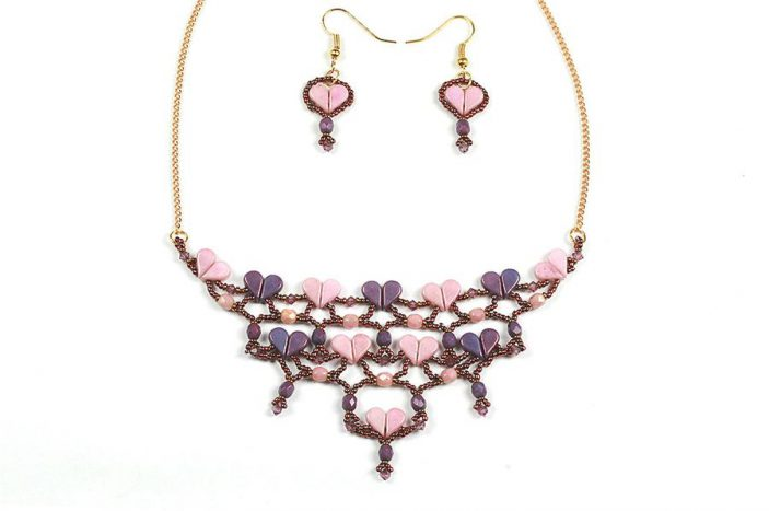 Amos par Puca Heart Necklace and Earrings