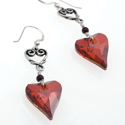 Wild Hearts Earrings - Red Magma