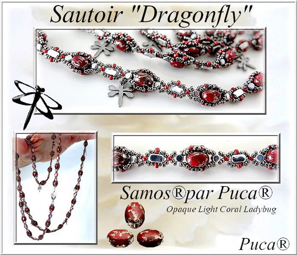 Dragonfly Necklace with Samos par Puca beads
